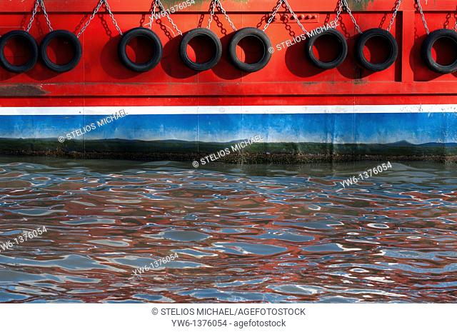 Abstract closeup of boat with water reflections,London,England