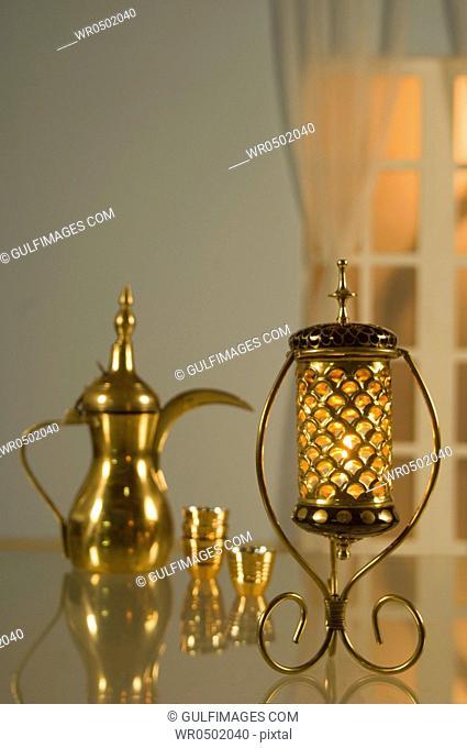 Lantern with Arabic coffee pot & cups