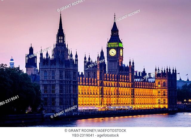 The Houses Of Parliament and River Thames, London, England