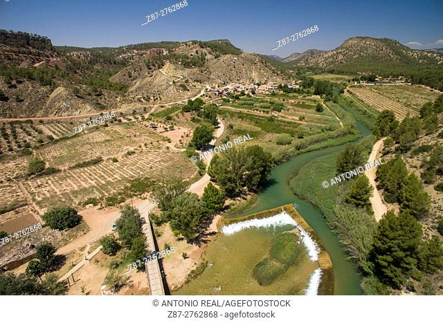 Aerial phtography using a drone: river Cabriel and Casas del Río, Requena, Valencia province, Comunidad Valenciana, Spain