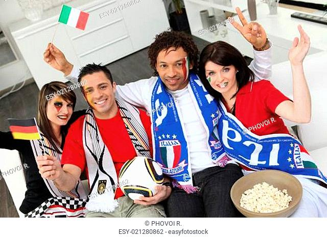 Italian and German soccer fans