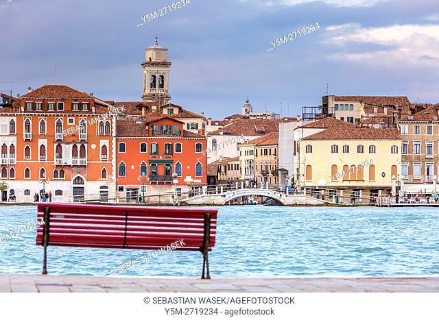 Venetian buildings along Giudecca Canal seen from Giudecca, Veneto, Italy, Europe