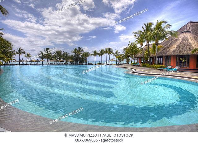 Swimming pool of Dinarobin Beachcomber at Le Morne Brabant, Mauritius