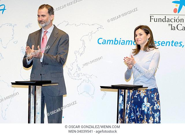 Felipe VI of Spain and Queen Letizia of Spain delivering 'La Caixa' scholarships at the Caixa Forum cultural center in Madrid, Spain