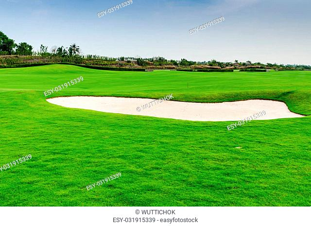 view landscape of golf course at Thailand
