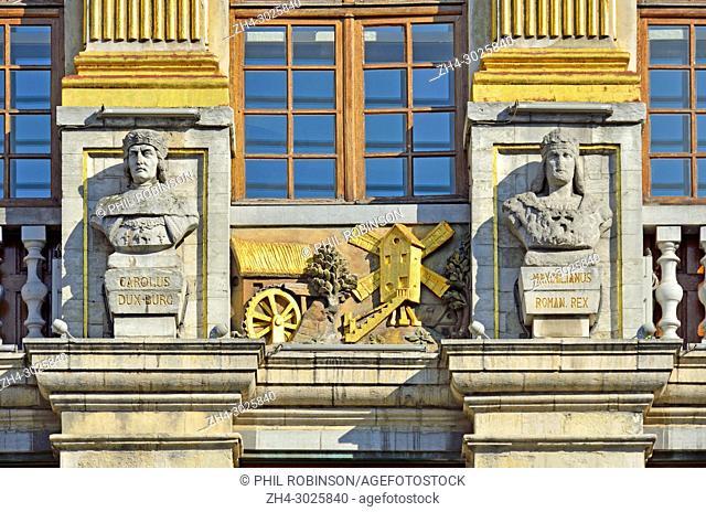 Brussels, Belgium. Grand Place. La Maison des Ducs de Brabant (1696-98) Facade detail