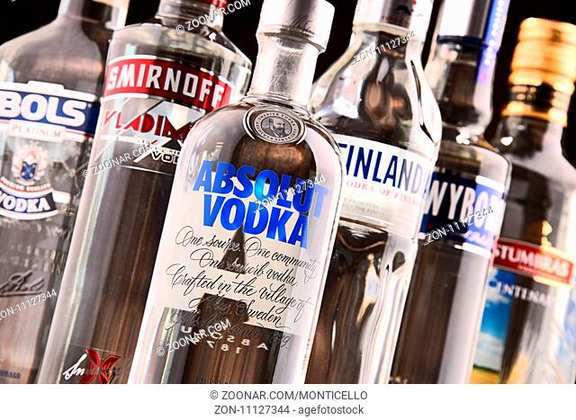 POZNAN, POLAND - MAY 31, 2017: Vodka is the world's largest internationally traded spirit with the estimated sale of about 500 million nine-liter cases a year