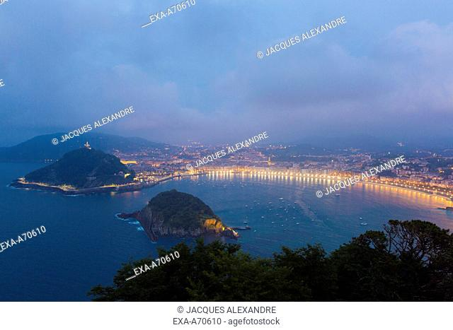 Panorama of Donostia Bay at night, Spain