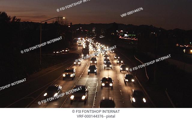 WS, T/L of heavy traffic at night, Los Angeles, California, USA