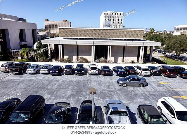 Florida, FL, Tampa, rooftop parking, cars, parked, public, city skyline, buildings