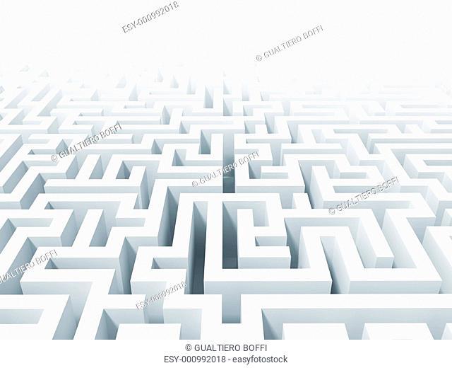 3d white labyrinth background