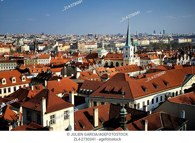 Czech Republic, Prague, historic centre listed as World Heritage by UNESCO, view of the old town from Prague castle