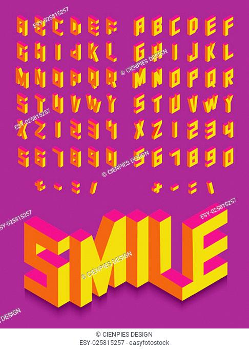 Colorful isometric 3d type font set isolated background illustration. EPS10 vector file..