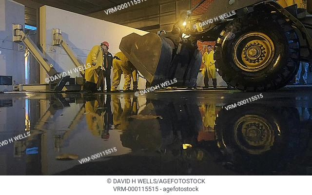 City workers preparing and closing huricane barrier in anticipation of tidal surge caused by hurricane Sandy, in Providence, Rhode Island, United States