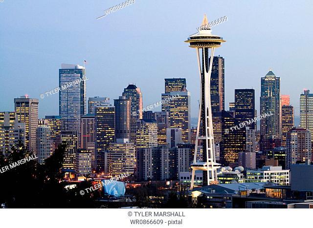Space Needle in Seattle Washington USA at dusk