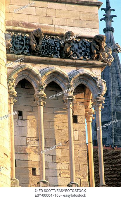 Detail of the cathedral facade. Dijon. Cote d'or. Burgondy. France