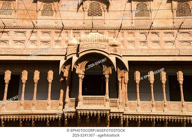 Carving details of the balcony located at the Junagarh Fort, Bikaner, Rajasthan, India