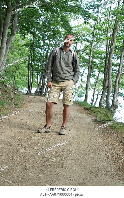 Man hiking in woods