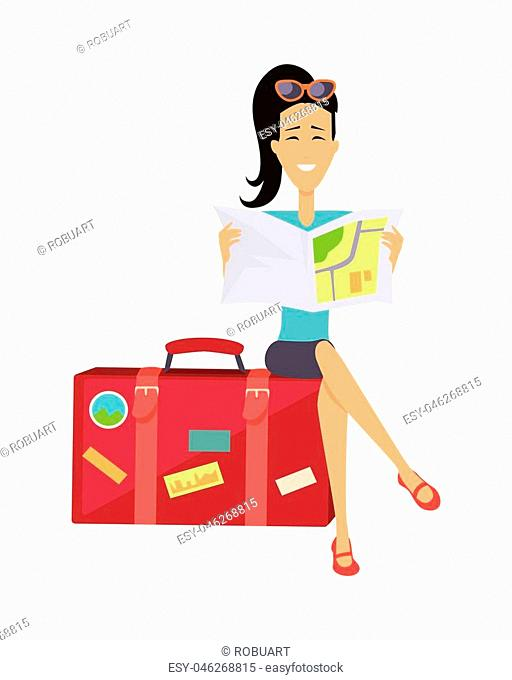 Summer vacation concept. Traveling with baggage illustration. Flat style design. Smiling brunette woman seating on suitcase and looking in road map