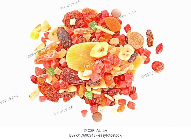 mix dried fruits isolated over the white background
