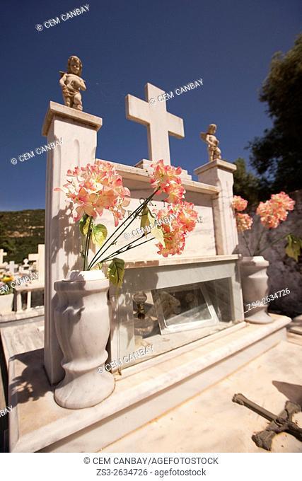 Tombstone in a graveyard in Elos town, Chania Province, Crete, Greek Islands, Greece, Europe