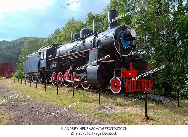 An old steam locomotive, Circum-Baikal Railway, Trans-Siberian Railway, Irkutsk Oblast, Siberia, Russian Federation