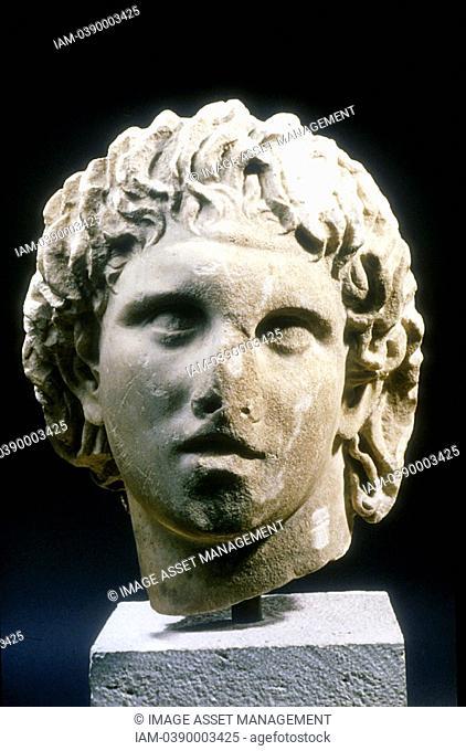 ALEXANDER III of Macedon the GREAT  Portrait bust  Pella Museum