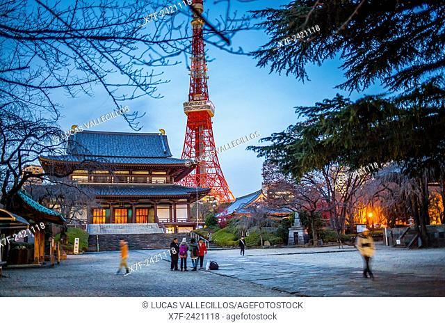 Zojoji Temple and Tokyo Tower, Tokyo, Japan