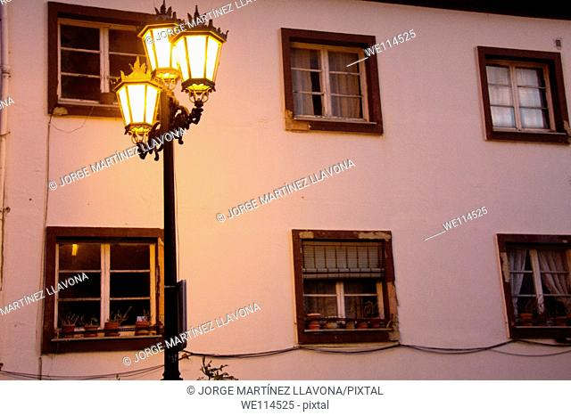Facade of a building and a streetlight