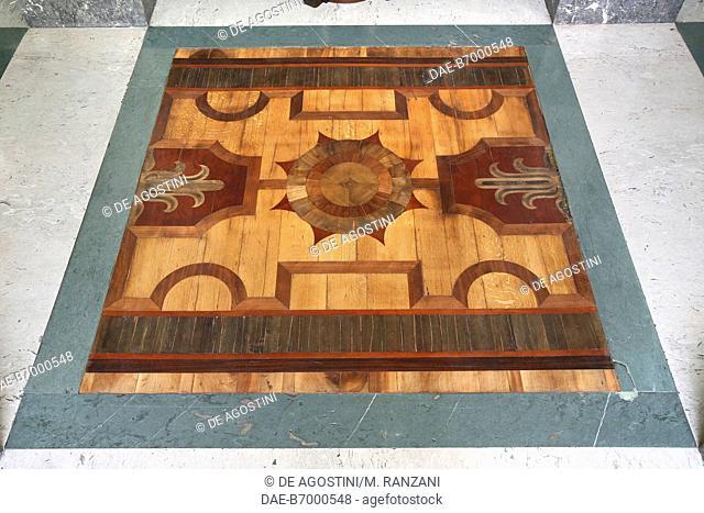 Inlaid wood floor, north anteroom, Royal Hall, Royal Pavilion, Milano Centrale railway station, Milan, Lombardy, Italy