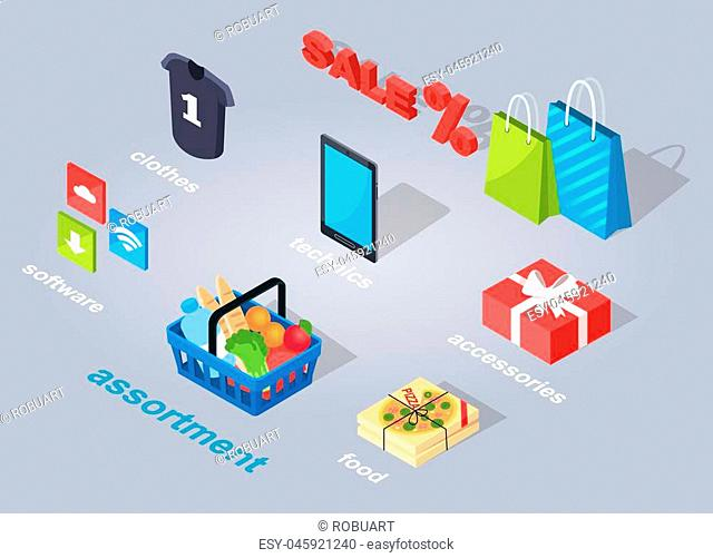 Set of electronic commerce. Vector illustration of three icons of software, assortment of products, italian food, accessories in red present