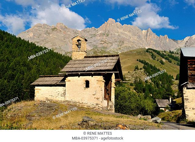 France, Hautes-Alpes, Brainconnais area, Valley of La Claree, Nevache, hamlet of Fontcouverte, chapel St. Marie or chapel of Fontcouverte