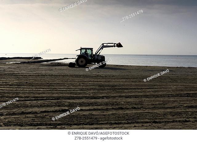 A tractor view in Santa Pola beach, Alicante province, Spain