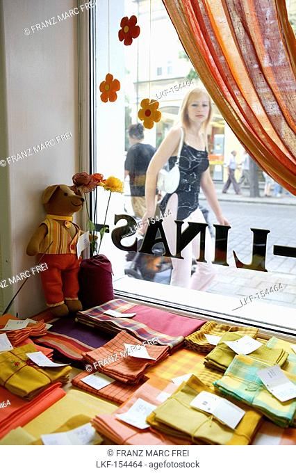The Lino Lamai store in Klaipeda sells typical linen products, Lithuania