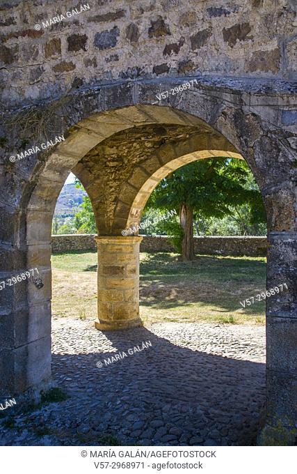 Portico of the Romanesque church. San Salvador de Cantamuda, Palencia province, Castilla Leon, Spain