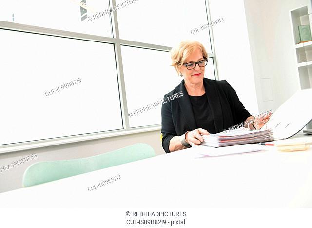 Businesswoman reading files