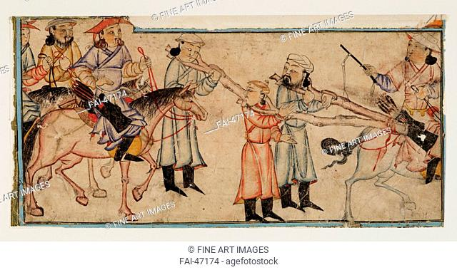 Mongol riders with prisoners. Miniature from Jami' al-tawarikh (Universal History) by Central Asian Art /Watercolour on paper/The Oriental Arts/First Half of...