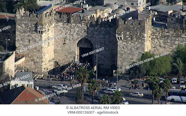 Aerial footage of Nablus gate in the old city of Jerusalem