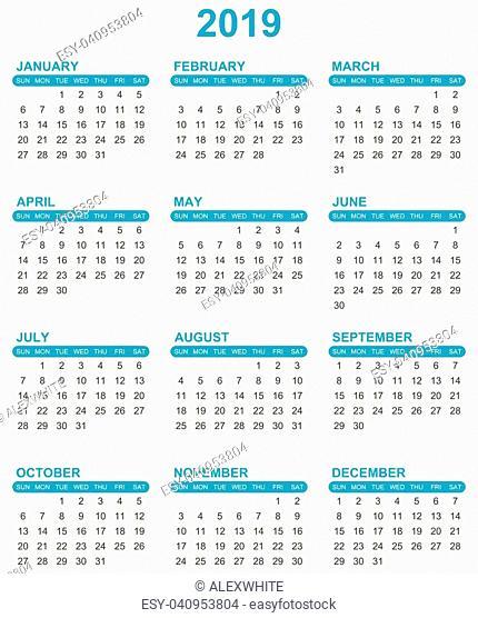 Simple editable vector calendar for year 2019 sundays first on white background
