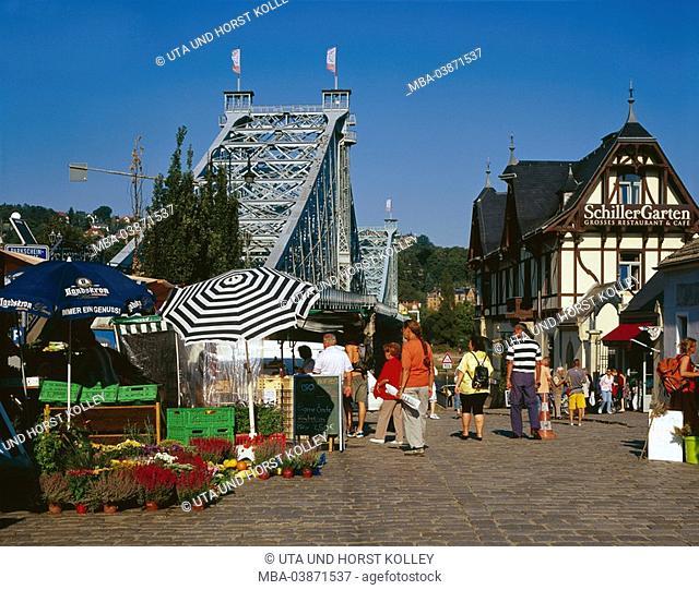 Germany, Saxony, Dresden, market place, Schillergarten, Loschwitzer Brücke Blaues Wunder tourists place week-market houses, timbering-houses, steel-bridge