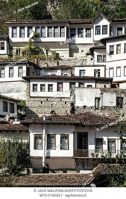 traditional balkan houses in historic old town of berat albania
