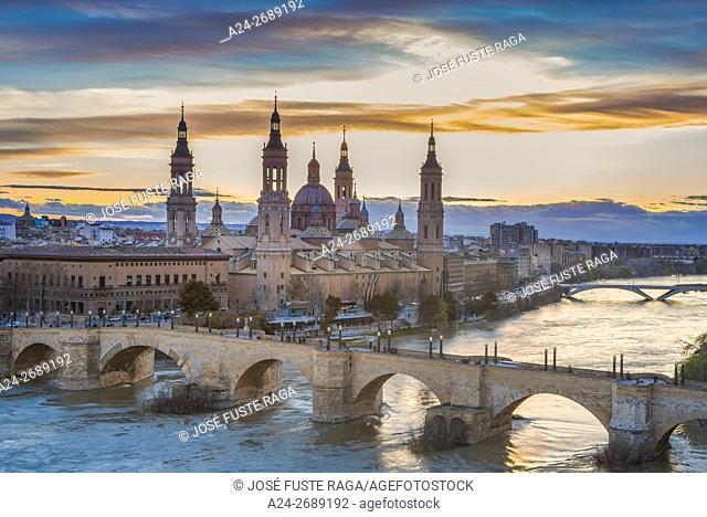 Spain, Aragon Region, Zaragoza City, El Pilar Basilica