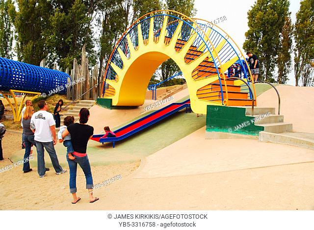 A bright and cheery playground, designed by Hank Ketchum, creator of Dennis the Menace, entertains kids in Monterrey, California