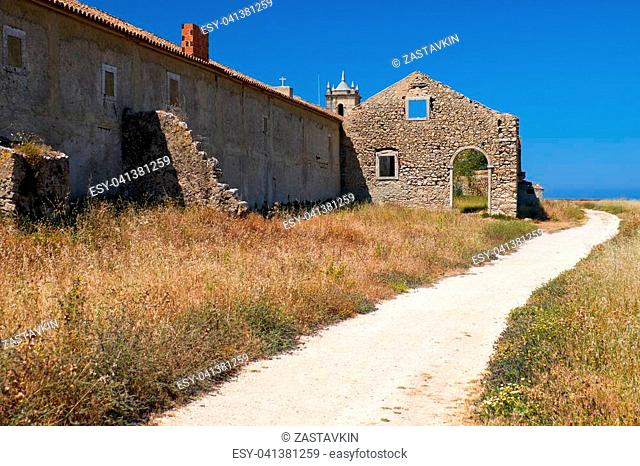 Path near the 15th century Our Lady of the Cape or Nossa Senhora do Cabo Church in Sesimbra, Portugal