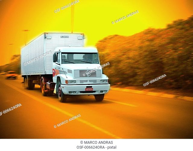 truck passing by the highway road