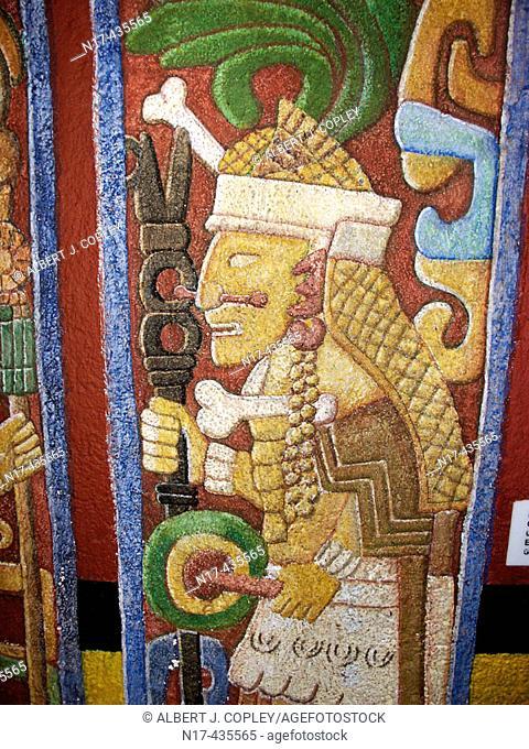 Mayan priest, primitive art from Chichen Itza. Yucatan, Mexico