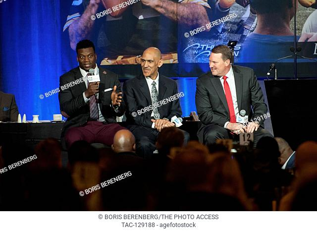 Benjamin Watson, Tony Dungy, and Brent Jones at the roundtable during the Bret Starr award