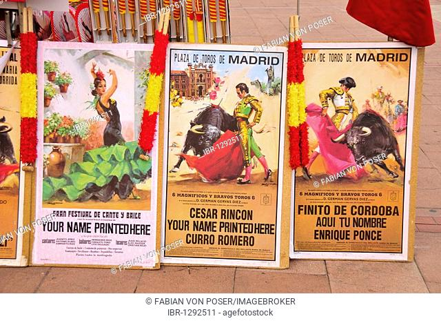 Bullfight poster on a stall at the Plaza de Toros Las Ventas, Las Ventas Bullring, Madrid, Spain, Iberian Peninsula, Europe