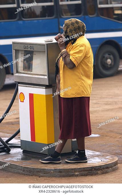 Woman by gas pum, Shashemene, Oromia Region, Ethiopia