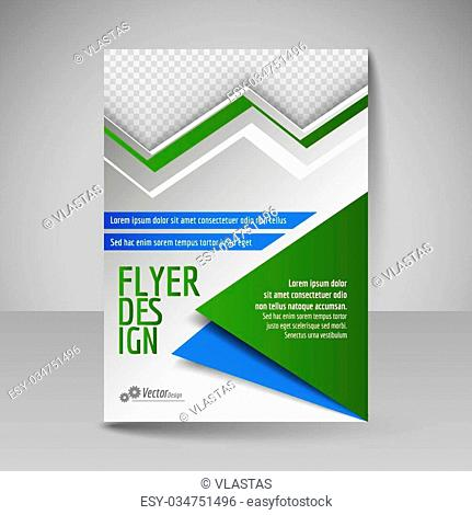 Business brochure. Editable A4 poster for design cover of magazine, education, presentation, website. Flyer template. Blue and green colors